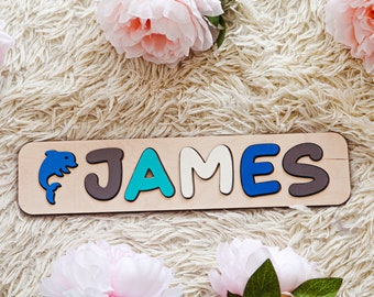 Personalized Name Puzzle with Symbols, Name Puzzles for Toddlers, Personalized Baby Name, Custom Baby Name Sign, Wooden Toys, Boy Room Gift