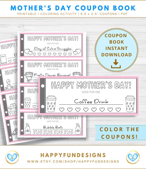 Mothers Day Coupon Book Template Printable Coupons from Kids