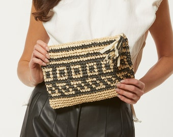 Envelope Clutch Purse in Natural Woven Beige Wool Snap Clutch Neutral Wool Clutch Tan Wool Clutch