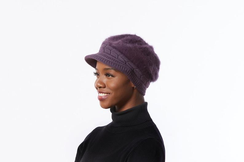 Angora Wool Blend Hat Purple Winter Cap Purple Newsboy hat with Bill Purple knit Cap