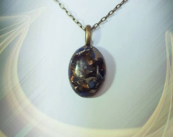 glass and brass beaded necklace.Also a unique  detailed brass bail Must see Gold Copper Bornite stone teardrop pendant with matching blue