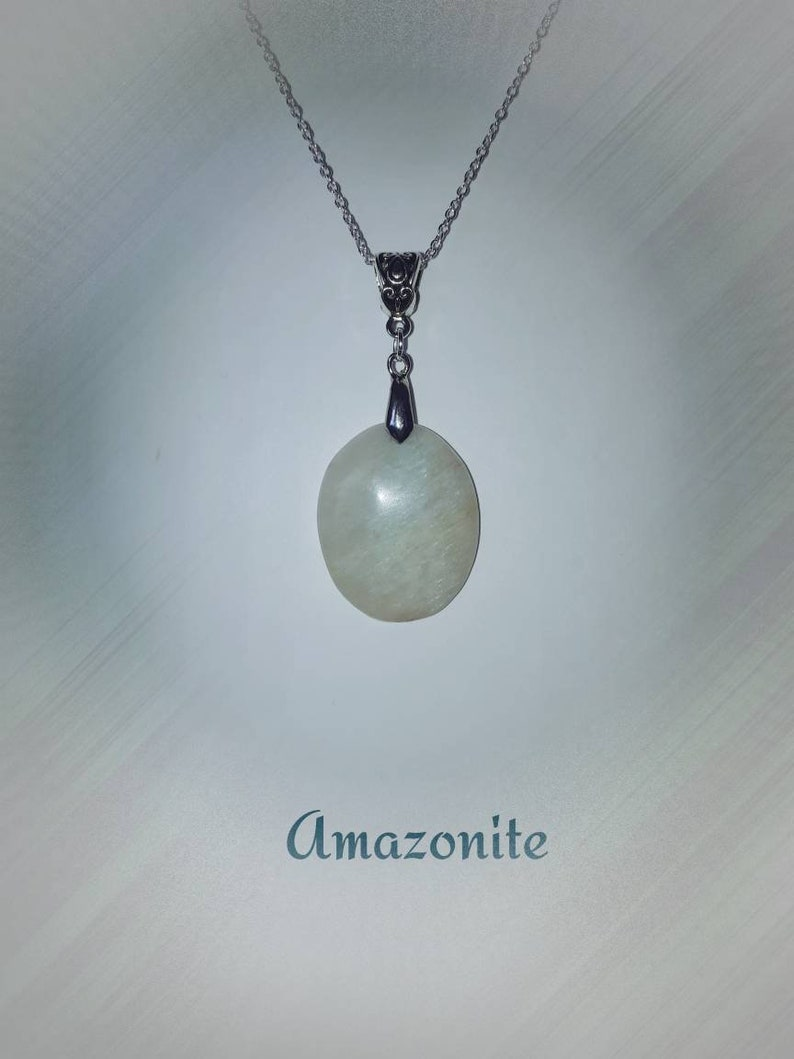 Designer Amazonite Pendant Necklace with Silver Chain