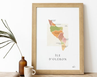 Poster Ile d'Oléron    Signed Poster - Map Île d'Oléron - French Poster Pair