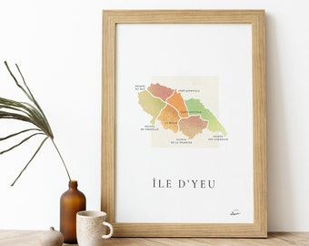 Poster Ile d'Yeu    Signed Poster - Map Île d'Yeu - French Poster Pair