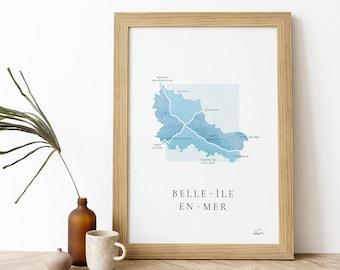 Belle-île-en-mer poster   Signed Poster - Carte Belle ile - French Poster Pair