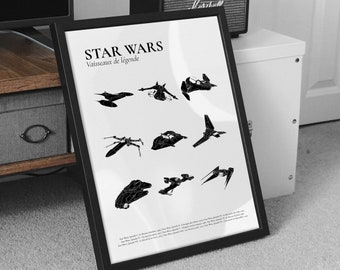STAR WARS poster  Minimalist poster - White and beige background - Film, cinema - signed poster - French poster Pair