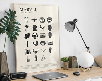 MARVEL   Poster  Minimalist poster - White and beige background - Art, Film, cinema - Signed poster - French Poster Pair