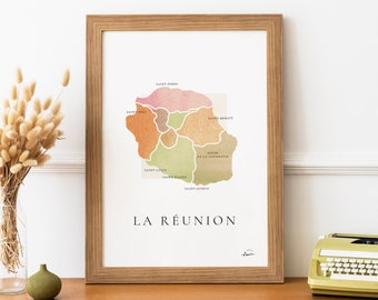 The Reunion   poster  Poster signed - Map La Réunion - French Poster Pair