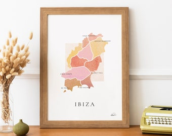 IBIZA   poster  Poster signed - Map Ibiza - French Poster Pair