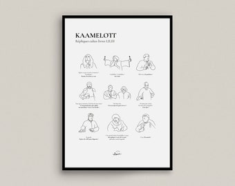 KAAMELOTT   poster Minimalist poster signed - Background beige, white or black - Series, cinema, funny, comedy - French poster Pair