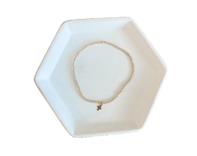 MAGDALENE   gold-filled beaded bracelet with tiny gold-filled cross