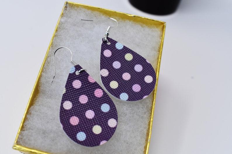 Light purple Polka dot tear drop earring,faux leather,single layer,Dangle earring LEATHER EARRING