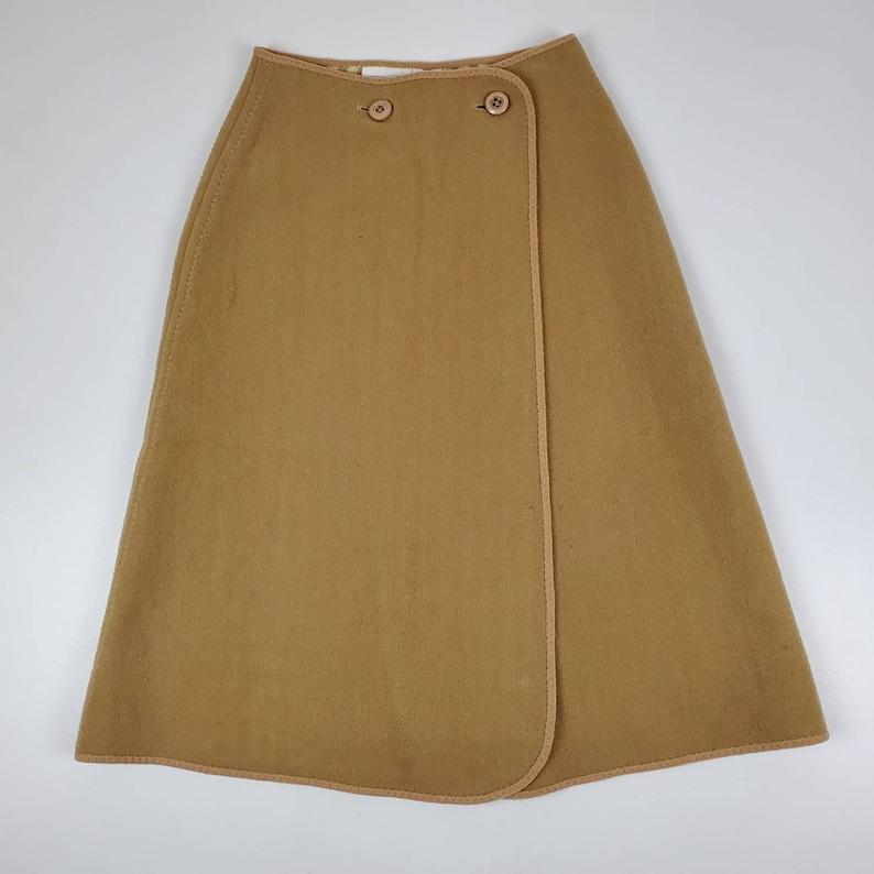 Vintage wetherall brown wool reversible midi wrap skirt solid brown  gingham
