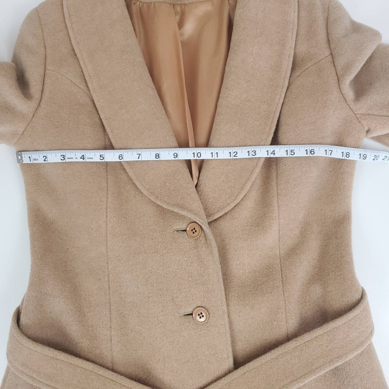 Vintage 1960s 1970s alexon youngset by alannah tandy camel wool trench classic coat a line coat princess seam pockets lined