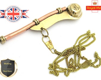 "5/"" Brass Boatswain Whistle With Chain Bosun Call Pipe Nautical Marine gift"