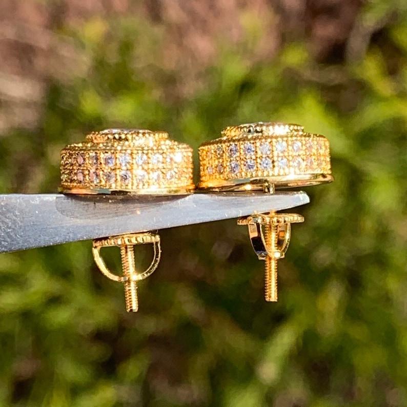 Round Cut Diamond Earrings Gold 12mm