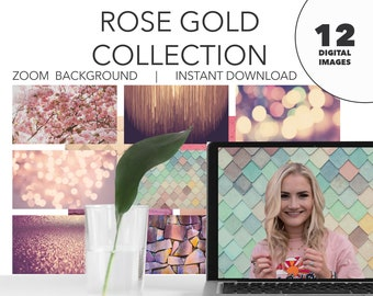 Zoom Background, Rose Gold Collection, Student Classroom, Online Meeting, Instant Download, Privacy Picture, Bundle of 12