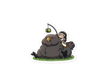 Final Fantasy XIV Fat Black Chocobo with Cabbage on a Stick and Rider Sticker