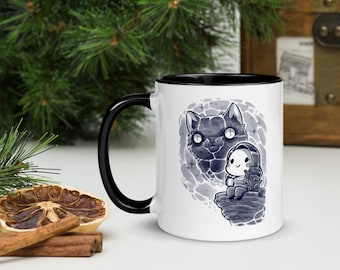 Girl Drinking Coffee with Cat Watercolor Art Ceramic Coffee Mug with Color Inside TraceyCola merch