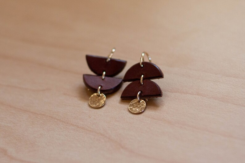 Eisley Mismatched Earrings Made in USA Gold Filled Eco Friendly Vegetable Tanned Leather Little Asymmetrical Leather Earrings