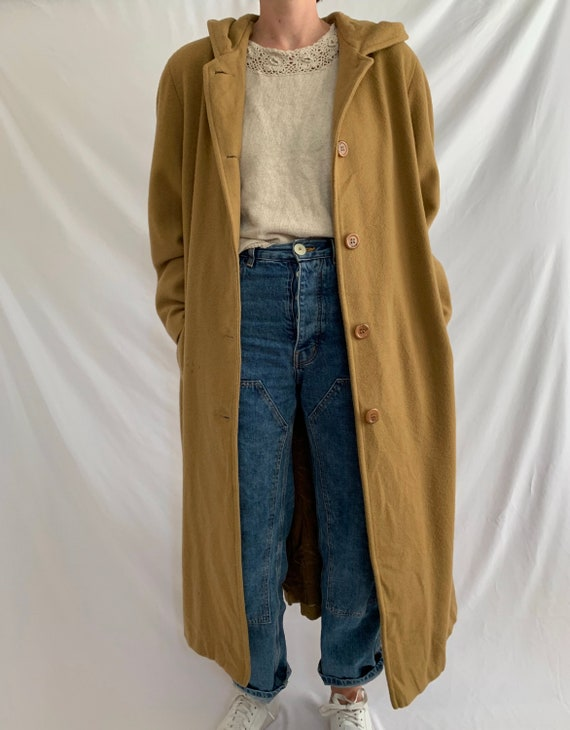 Vintage camel wool coat with hood/Maxi camel wool