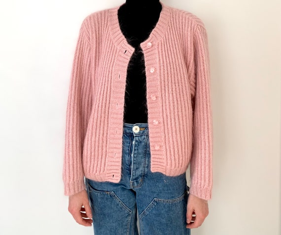 L.L. Bean dusty pink mohair chunky mohair cardiga… - image 2