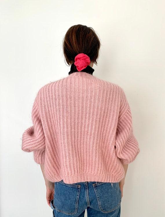 L.L. Bean dusty pink mohair chunky mohair cardiga… - image 6