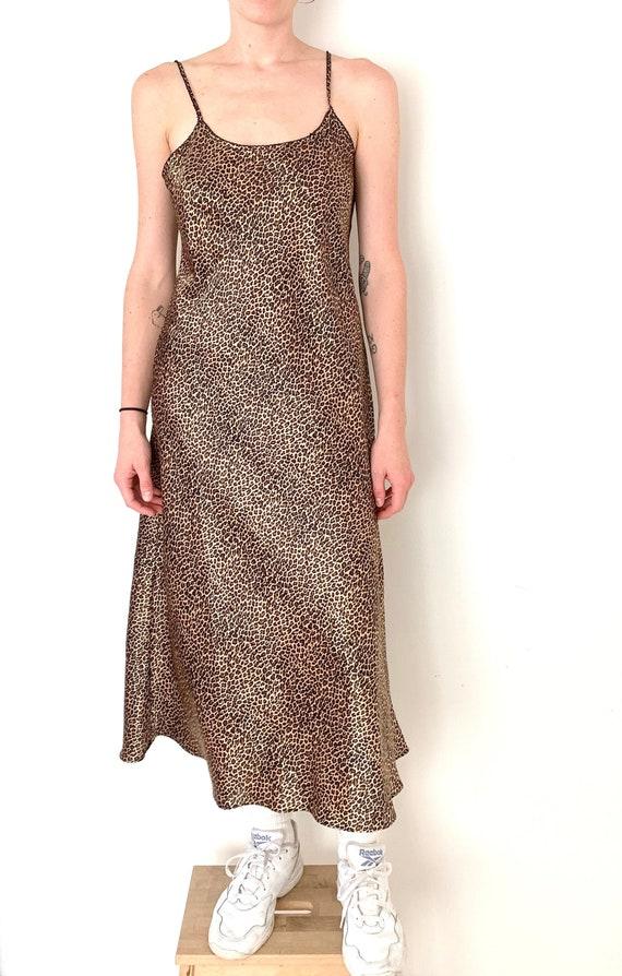 90s leopard print long SLIP dress/ maxi slip dress