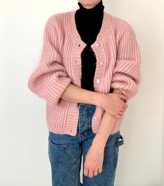 L.L. Bean dusty pink mohair chunky mohair cardigan