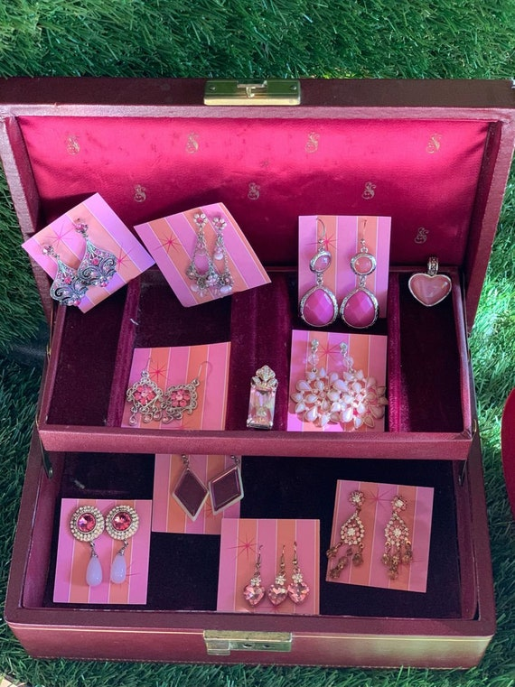 Vintage Jewelry Box with Pink Costume Jewelry Coll