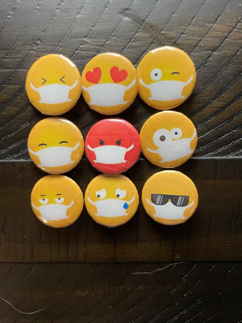 9 Emoji Mask Pinbacks or Magnets