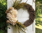 Hydrangea Wreath, Wedding Wreath, Hydrangea Floral Wreath, Wall Wreath, Fireplace Mantel Wreath, Fall Wreath, Autumn Wreath, Boho Wreath