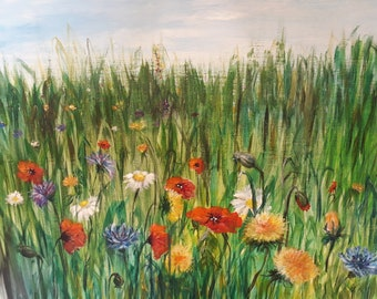 Meadow flowers acrylic painting canvas
