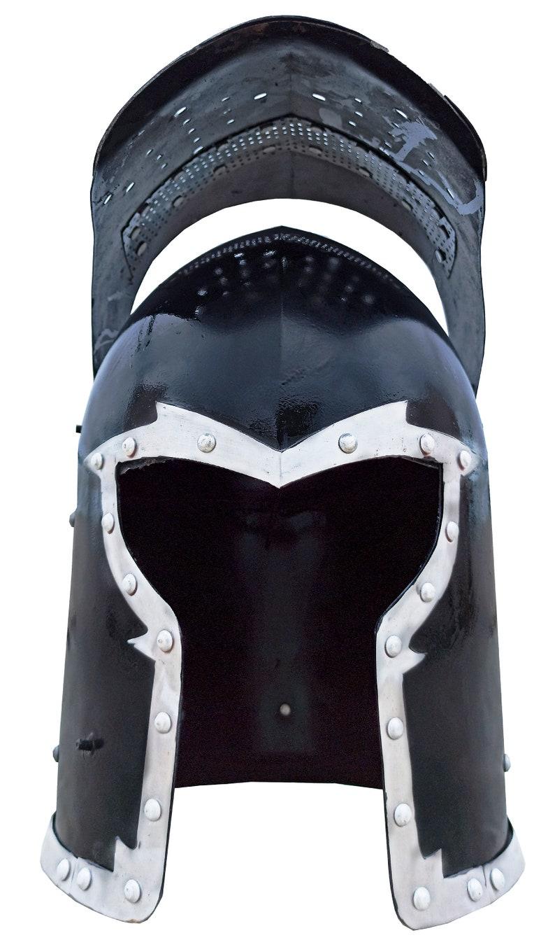 Medieval Spartacus Fantasy Black Barbute Helmet Knight Helmet