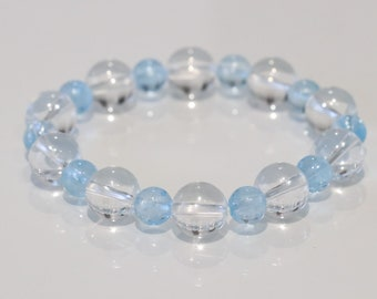 Sky blue topaz with clear quartz bracelet purify, fulfilment of love, grants intuition and insight(free freight)
