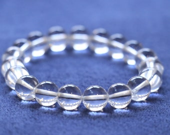 Natural Clear Quartz Crystal bracelet, protection, improve luck, purify, increase intuition, awareness of subconscious (free freight)