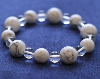 White howlite bracelet, adaptable, improve positive thinking, supports in detoxing the body of negativity (free freight)