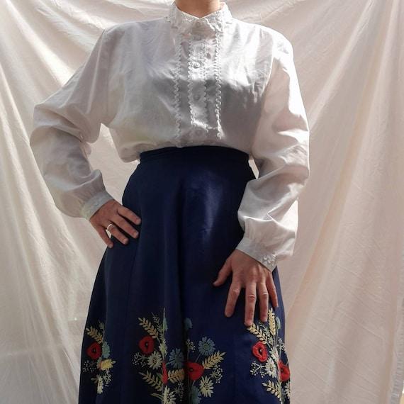 Cottagecore vintage dirndl  milkmaid blouse with … - image 2
