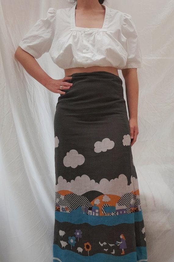 Cottagecore 70s  vintage prairie maxi skirt, fair… - image 4