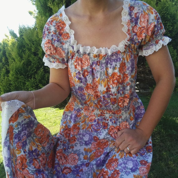 70s vintage shirred peasant dress with broderie an