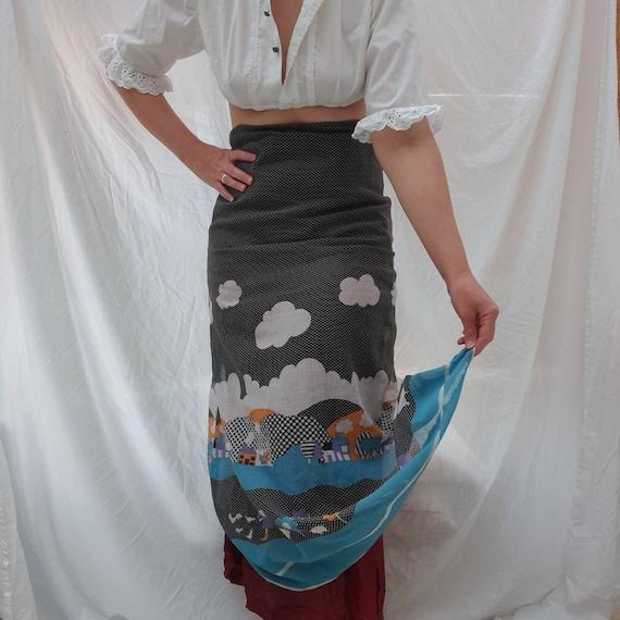 Cottagecore 70s  vintage prairie maxi skirt, fair… - image 3