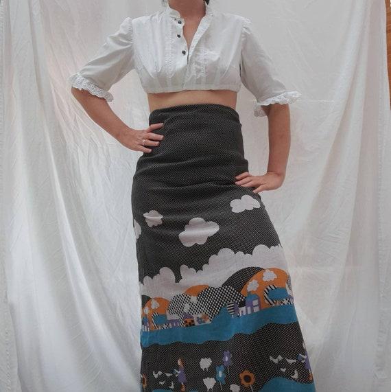 Cottagecore 70s  vintage prairie maxi skirt, fair… - image 1