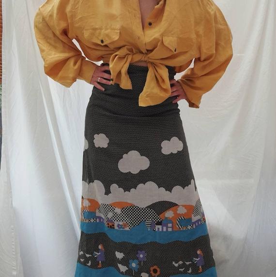 Cottagecore 70s  vintage prairie maxi skirt, fair… - image 2