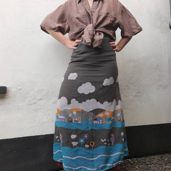 Cottagecore 70s  vintage prairie maxi skirt, fair… - image 7