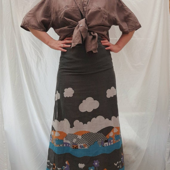 Cottagecore 70s  vintage prairie maxi skirt, fair… - image 6