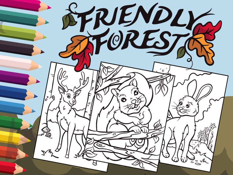 Friendly Forest: Animal Coloring Pages