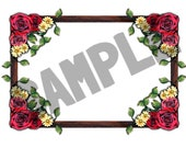 A4 Sheet of (4 or 8) Stickers - Rustic frame with roses. Ideal for book plates, decoupage, bullet journaling etc.