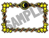A4 Sheet of (4 or 8) Stickers - Moon and Stars Frame. Ideal for book plates, decoupage, bullet journaling etc.