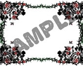 A4 Sheet of Stickers - Gothic Rose. Ideal for book plates, decoupage, bullet journaling etc.