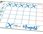 A4 Sheet of 8 Stickers - A Bujo Blank Month sticker, for any month! Ideal for habit tracking and planning out your life!